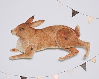 Rabbit Articulated Paper Doll Printable Instant Download PDF