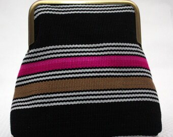 Coin purse, stocking filler, gift for teen, Striped pouch, aso-oke, Pink and Black Aso-oke Pico Pouch, Kiss Lock Coin purse