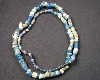 Rare ANCIENT African Trade Beads Antique STRAND - Blue, Cream, Yellow