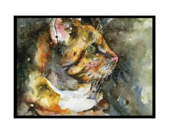 Tiger Cat Watercolor Note Cards,  Cat Prints, Cat Art, Boxed Set, Cat Lover, Stocking Stuffers