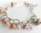 Pink Opal, Rhodonite, Pearl, and Crystal Bracelet