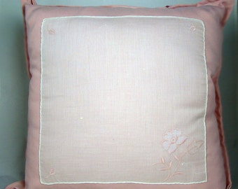 Pink Rose Cottage Chic Vintage Hankie Pillow