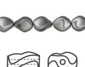 SALE Swarovski Crystal Dark Grey Curved Pearls (5826) 9x8mm 10 pcs