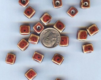 Handcrafted Porcelain-Ceramic Red Cube Beads 8mm 20pcs