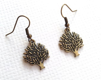 Tree of Life Antique Brass Earrings, Forever Tree Earrings, Dangle Earrings, Everyday Earrings, BFF Gift, Birthday Gift, Graduation Gift