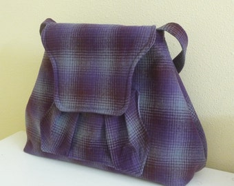 SALE Purple, Maroon and Grey Ombre Plaid Wool Shoulder Bag Purse with pleated pocket