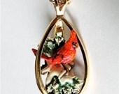 Red Cardinal pendant necklace. Winter red bird. Sterling silver. Olszewski Danbury Mint