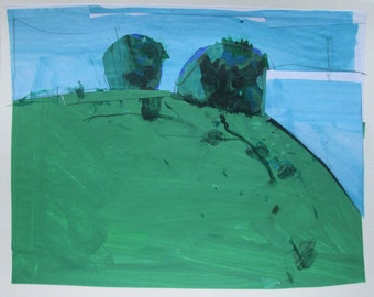 Pass, Original Landscape Collage Painting on Paper, Stooshinoff