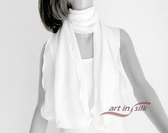 White Silk Scarf, Off White Wrap, Bridal Petite Shawl, Natural Soft White, Pure Silk Chiffon, Sheer Ivory Scarf, Artisan Handmade.