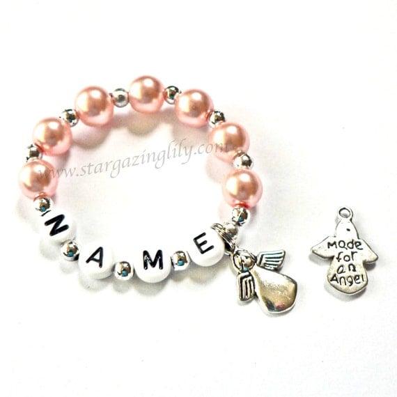 Newborn Keepsake Angel Baby Memory Bracelet Personalized Name Bracelet Pink Pearl Children's Infant Baby Toddler Child Kids Stocking Stuffer