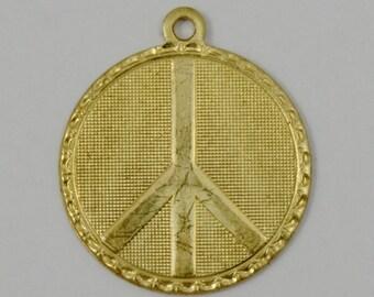20mm Raw Brass Peace Charm (4 Pcs) #1337