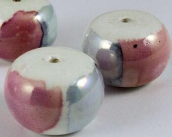 22mm Pink/Blue Ceramic Drum Bead (2 Pcs) #480