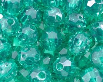 8mm Emerald Quality Plastic Faceted Bead