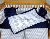 New 7 piece grey white Chevron and Elephant 7 piece Crib Bedding Set w/ navy blue minky dot fabric