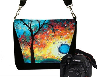 MadArt Digital Slr Camera Bag DSLR Camera Bag Purse Zipper Padded  - Deluxe Aqua Burn MTO