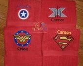 Super Heros Towel, Super Hero Hand Towel, Custom Personalized Super Heros Red Hand Towel