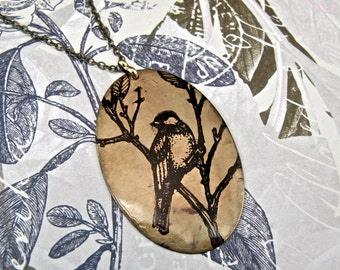 Long Necklace REVERSIBLE with Lark / Tree Silhouette Print on Antique Raw Brass * SALE * Coupon Codes