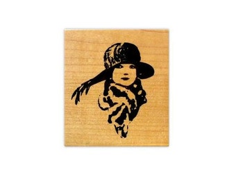 Flapper Lady with Scarf and Hat, small, mounted rubber stamp No.2