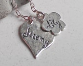 Dazzeling Heart and Flower Personalized Charm Silver Necklace