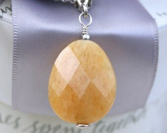 Honey Jasper Pendant with Sterling Bail - chain not included