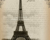 Instant Download DIGITAL Large Format Image EiffelTower with Crown Fabric Transfer