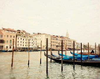 italy photography, venice photography, gondolas, blue decor, grand canal, architecture, europe photograph, Beautiful Venice V04