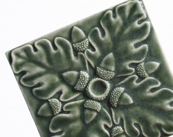 Ceramic Art Tile - Oak Leaves and Acorns - olive, fern, sage green - decor for your home - kitchen, fireplace, bath - handmade ceramic tile