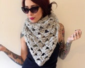 Chunky knit grey bandana scarf - oversized triangle shawl