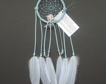 Light Blue Dream Catcher, Goose Satinette Feathers