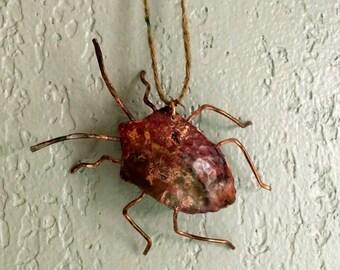 Copper Stink Bug Ornament, Shield Bug