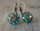 Swarovski Crystal and Antiqued Brass Earrings, Teal