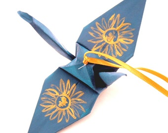 Gold Sunflower on Teal Origami Crane Ornament, Handpainted Home Decor