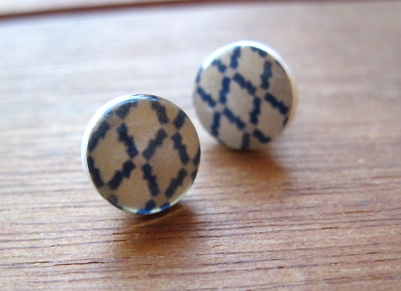Moroccan post earrings, blue, grey, and white geometric pattern jewelry, Tribal Jewelry, North African Tile pattern