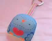 "keychain--- ""mini owl -- "" öökull "" (blue)-- plush doll ---  heart keyring -- (ship in 1 day)"