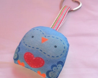 "keychain--- ""mini owl -- "" öökull "" (blue)-- plush art doll ---  heart keyring -- (ship in 1 day)"