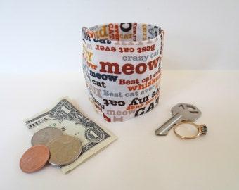 Secret Stash Kids Money Cuff - ....The Cats Meow-  hide your cash,key,health info  in a secret zipper