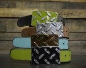 Tread Plate Belt Buckle with Premium Leather belt