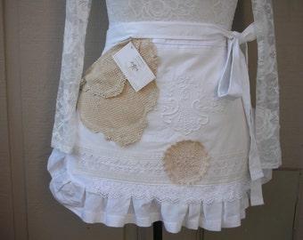 Bridal Aprons - Lace Aprons - Annies Attic Aprons - Here Comes the Bride Apron - White Lace Apron - Annies Attic Aprons - AnniesAttic Aprons