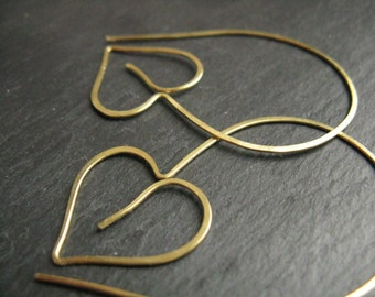 Helix, oversized leaf earrings,  nature inspired heart / ivy leaf shape,  thread through hoops in hammered golden brass