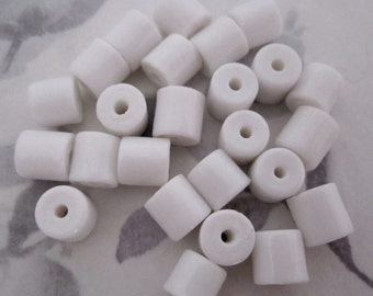 25 pcs vintage glass milk white cylinder beads 8x8mm - f4324