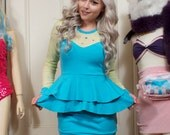 Chartreuse and Turquoise Sheer Top Long Sleeve Ruffle Dress