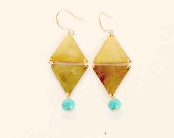 Geometric Brass and Turquoise Dangle  Earrings