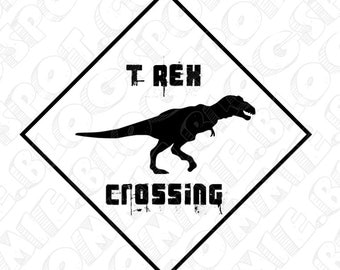 PDF: T-Rex Crossing Sign - Printable Instant Download Dinosaur Themed Party Warning Caution Zone Paleo Caveman silhouette