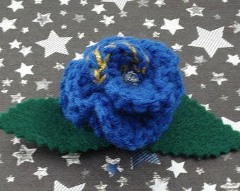 Idris - Crocheted Rose Hair Clip - Blue and Gold (SWG-HC-DWID01)
