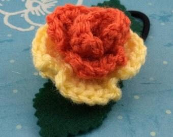 Crocheted Rose Ponytail Holder or Bracelet - Orange and Light Yellow (SWG-HP-MPAJ01)