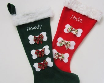 Gift for Pet Lover Custom Christmas Stocking with your Dog's name