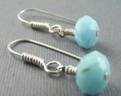 Baby Blue Faceted Glass Dangle Earrings