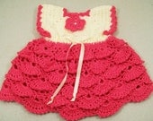 Girls Crochet Dress-Hot Pink ruffled--#14
