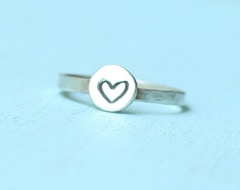 LITTLE LOVE ring, stacking ring with line drawing of a HEART, eco-friendly sterling silver. Handcrafted by Chocolate and Steel
