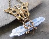 Blue Kyanite Shard Necklace, Raw Gemstone, Bohemian Necklace, Butterfly Necklace, Filigree Wrap Necklace, Animal Totem Jewelry,